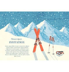 Ski winter mountain landscape card vector