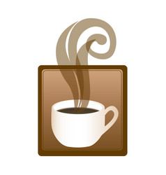 square emblem with hot cup of coffee vector image vector image