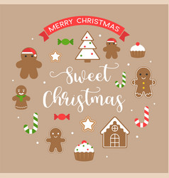 Sweet christmas and merry christmas text vector