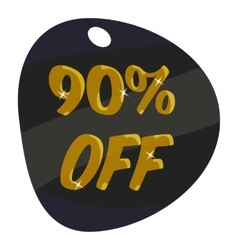 Tag ninety percent discount icon cartoon style vector