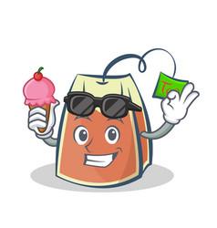Tea bag character cartoon with ice cream vector