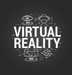 Virtual reality letters on black vector