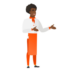 young african-american happy chef cook gesturing vector image vector image