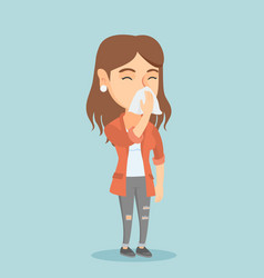 Young caucasian sick woman sneezing vector