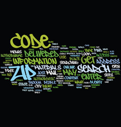 Zip code search text background word cloud concept vector