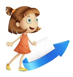 girl with arrow and envelop vector image