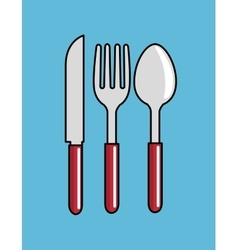 Cartoon spoon fork knife kitchen design vector