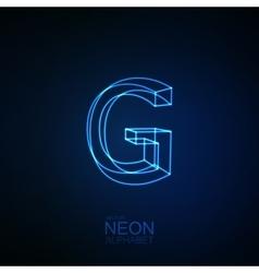 Neon 3D letter G vector image
