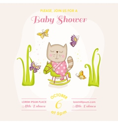 Baby Girl Cat on a Horse - Baby Shower Card vector image