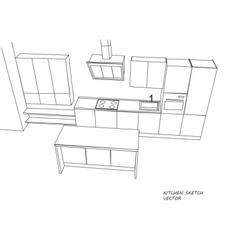 Kitchen furniture sketch vector image
