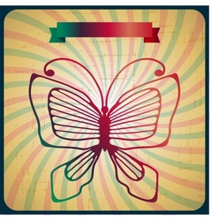Retro poster with butterfly on old scrach vector image