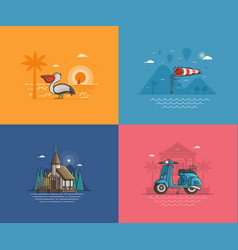 Summer seaside backgrounds set vector