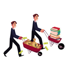 Men businessmen pushing wheelbarrows one with vector