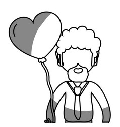 Line man with beard and heart balloon in the hand vector