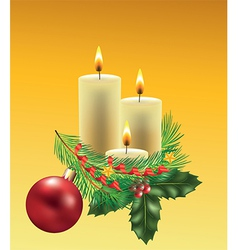christmas candles branche vector image