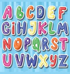Set of cute childish cartoon colored alphabet i vector