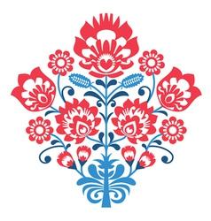 Polish Folk art pattern with flowers - wycinanka vector image