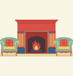 Empty sofas and fireplace in living room interior vector