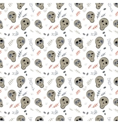 Seamless pattern skulls on a white vector