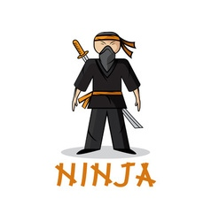 Cartoon young ninja vector
