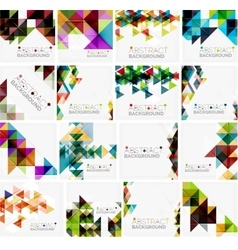 Set of triangle geometric abstract backgrounds vector