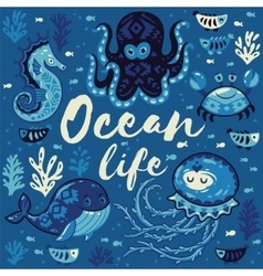 Ocean life lovely card with cute animals in vector