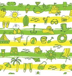 Summer pattern with strieps green yellow vector