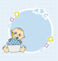 baby boy with cake vector image