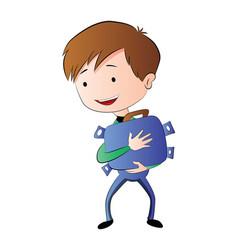 boy hugging a briefcase full of money vector image vector image