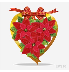 Christmas decoration poinsettia with red ribbon vector