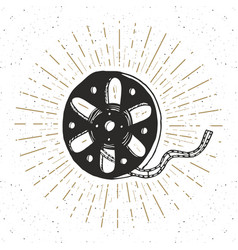 Cinema tape and film reel vintage label hand vector