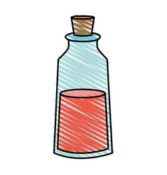 Color crayon stripe cartoon small glass bottle vector