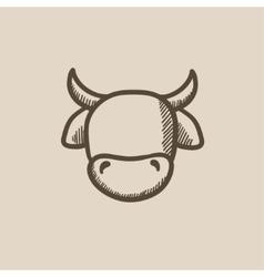 Cow head sketch icon vector image vector image