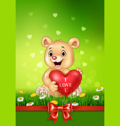 cute bear holding red heart balloons on green gras vector image vector image