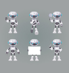 different poses robot innovation technology vector image