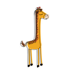 female giraffe cartoon with closed eyes expression vector image