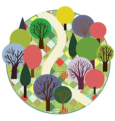 Garden or forest cute round card vector image