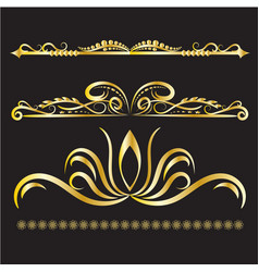 Gold vintage decorations elements flourishes vector