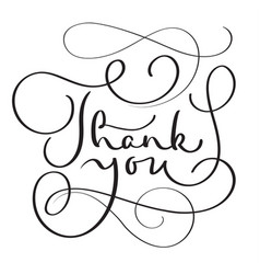 hand drawn thank you text on white vector image vector image