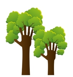 Hands human tree plant ecology icon vector