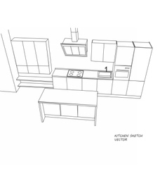 Kitchen furniture sketch vector image vector image