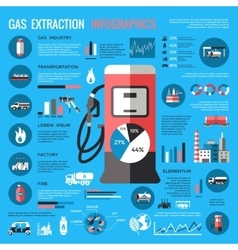 Natural gas extraction infographics vector