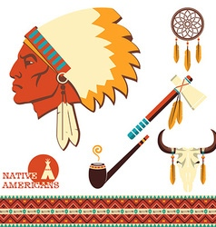 North american indian man portrait and traditional vector