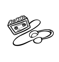 Old cassette player vector