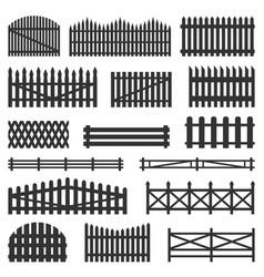 rural fences wooden set vector image