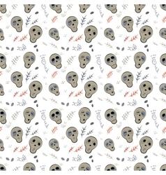 Seamless pattern skulls on a white vector