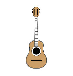 Sketch color silhouette acoustic guitar musical vector