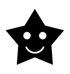 smiling star black color icon vector image