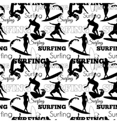 Surfing People California Black And White vector image vector image