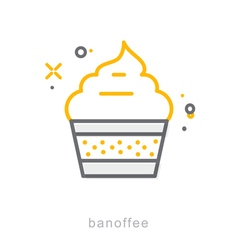 Thin line icons banoffee vector